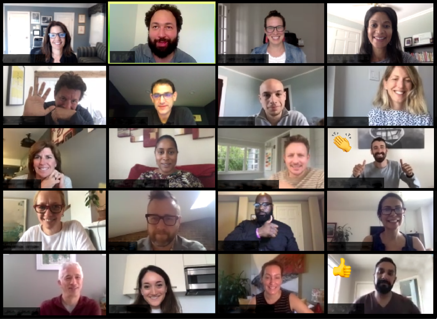 Fast Forward professional development training participants on a Zoom meeting screen during a virtual corporate training session